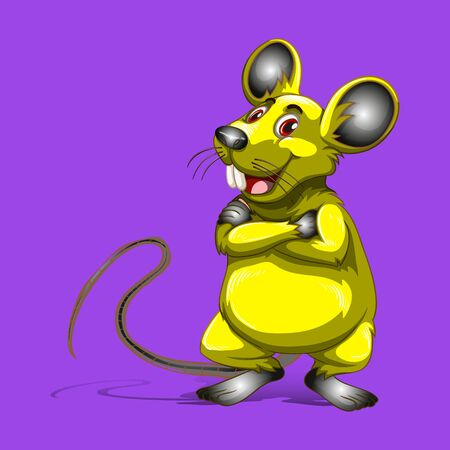 Yellow cartoon rat with arms crossed, Symbol of New Year 2020, on purple background, vector