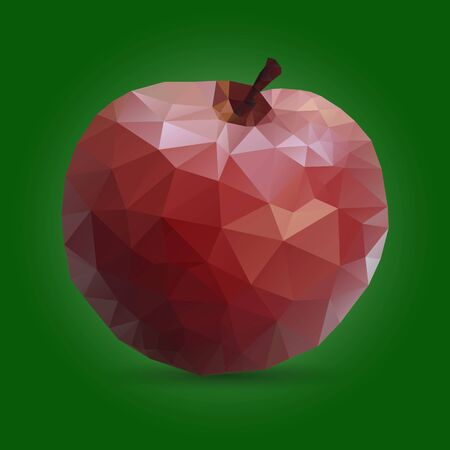 Red Apple triangulation. Low poly object on a green background, closeup, vector Ilustração