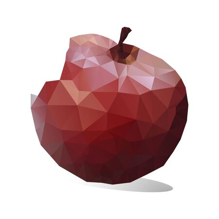 Red Apple bite, tilted, triangulation. Low poly object on a white background, close up, vector Ilustração