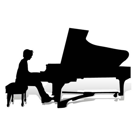 Silhouette of a pianist at the piano playing, close up on a white background, vector 일러스트