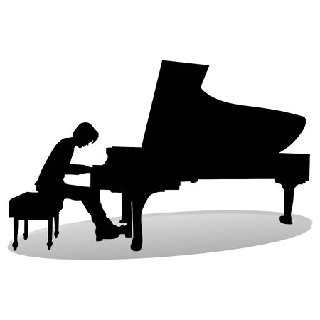 Silhouette of a pianist at the piano playing, close up on a white background, vector Ilustração