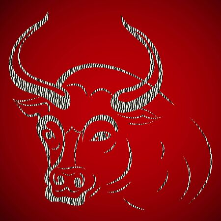 Abstract gray bull. Taurus head on a red background, vector