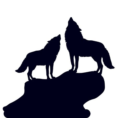 A pair of wolves raised their heads up, silhouette on a white background close-up, vector
