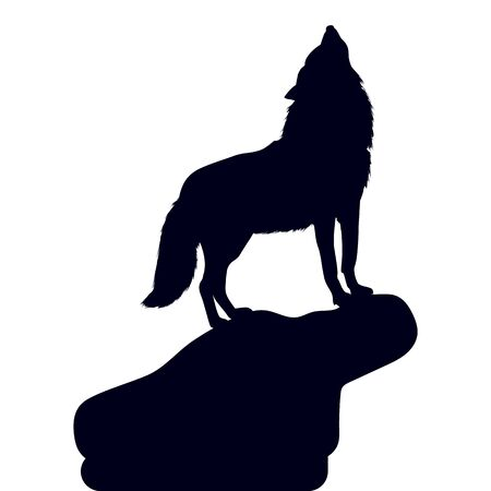 Wolf on a hill with his head raised, howling, silhouette on a white background, close up, vector