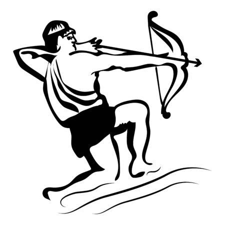 Signo del zodíaco Sagitario, silueta negra sobre un fondo blanco, de cerca, vector