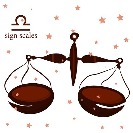 Libra zodiac sign, brown on a white background with stars, vector