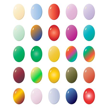 Easter eggs collection, for decoration for Easter. Objects on a white background, vector Ilustração