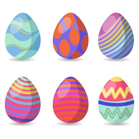 Easter eggs collection, for decoration for Easter, on a white background, vector