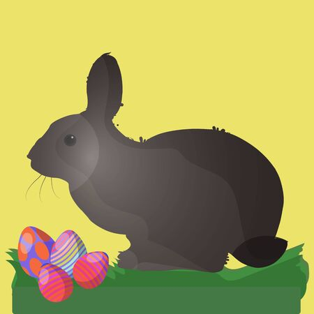 Illustration for Easter. A light brown hare sits on the grass, where Easter eggs lie nearby, on a yellow background Ilustração