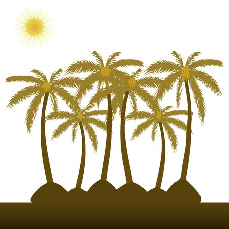 Palm trees and sun, flat style on a white background, vector