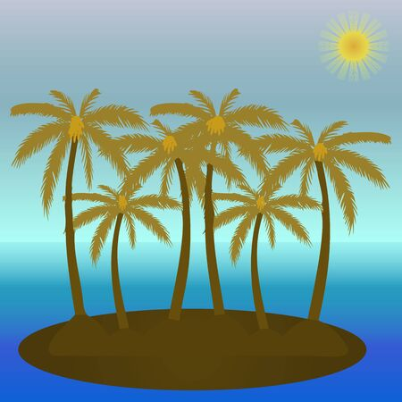 Vector illustration of palm trees on the island and blue sea. Ilustração