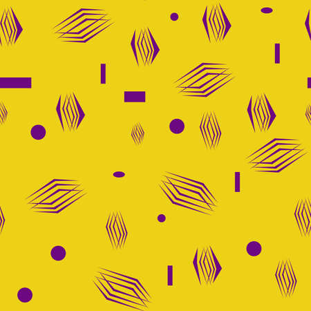 Abstract shapes, seamless pattern, yellow with purple shapes, vector