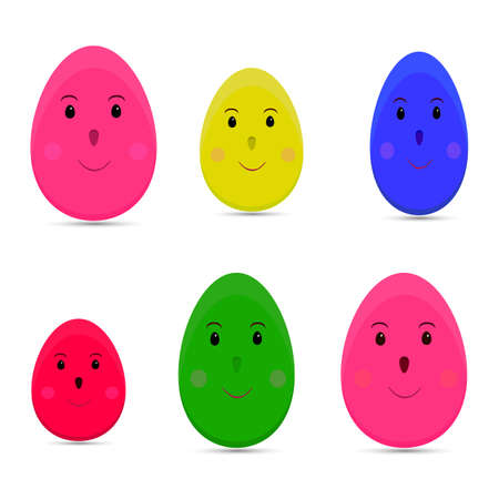 Easter eggs collection on white background, cartoon eggs