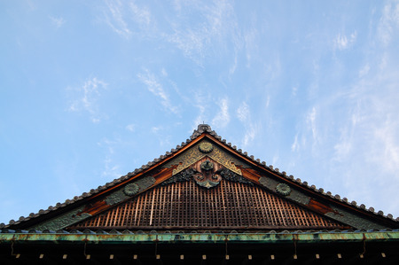 pediment: Japanese pediment has been decorated beautifully with perforated design in Kyoto, Japan