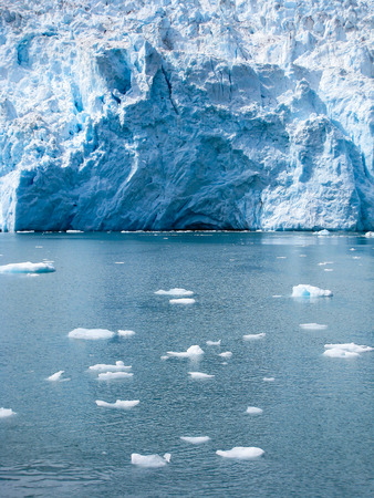scatter: The broken floating ice from Holgate Glacier scatter all over the Aialik bay  in Alaska. Stock Photo
