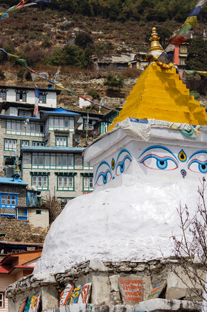 terracing: The Buddhist stupa at Namche Bazaar in everest region of Nepal with housing on hillside terracing on background.