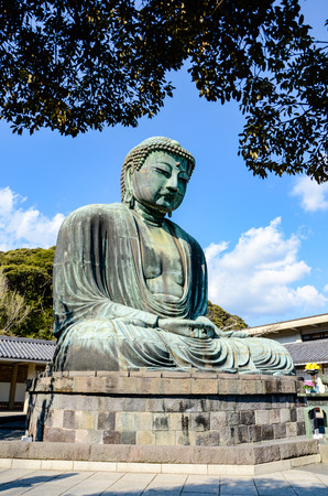 The Great Buddha of Kamakura (Daibutsu), a monumental outdoor bronze statue of Amida Buddha