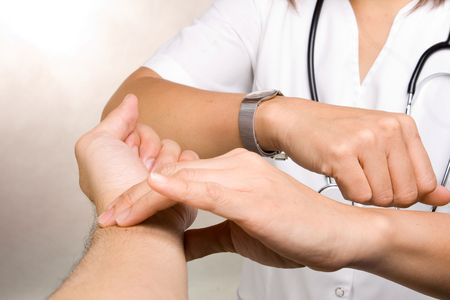Hand checking for a radial pulse for a minute