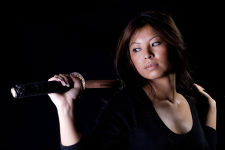 samurai sword: Passionate woman with samurai sword