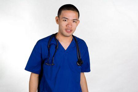 自信を持っての顔を見せのオスの看護婦 写真素材