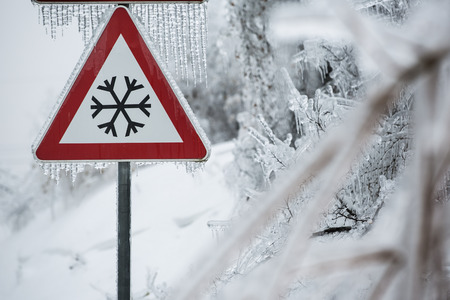 Traffic sign for icy road with sleet covered trees photo