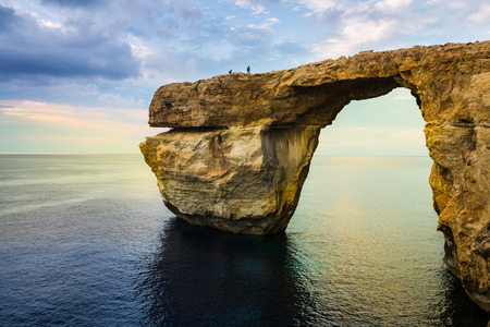 azure coast: Azure Window, natural arch on Gozo island, Malta, at blue hour with vibrant colours Stock Photo