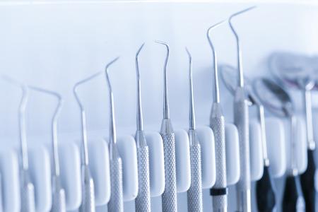 Exploratory dental tools - dental explorer, burnisher, periodontal probe, dental mirror