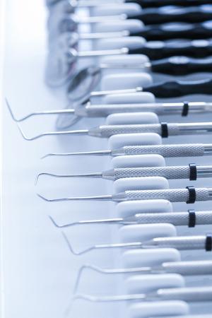 Exploratory dental tools - dental explorer, periodontal probe, dental mirror