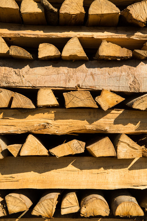 front or back yard: Pile of chopped firewood prepared for winter