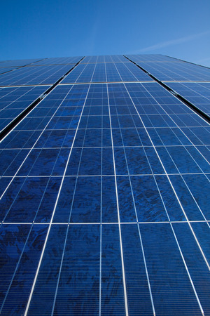 new technologies: Solar panels and blue sky Stock Photo