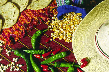 guatemala: Guatemalan and mexican food on the table
