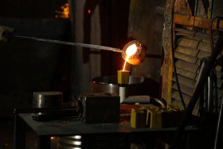 nodular: Crucible of molten cast iron Stock Photo