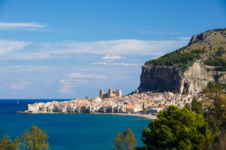 Panorama of the beautiful city of Cefalu, Sicily, Italy, with its famous church