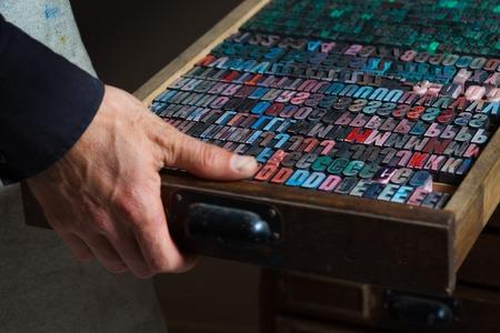 printing inks: Old vintage metal printing press letters in a drawer