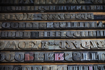 printing inks: Old vintage metal printing press letters