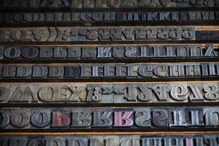 printing block block: Old vintage metal printing press letters