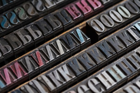 block letters: Old vintage metal printing press letters