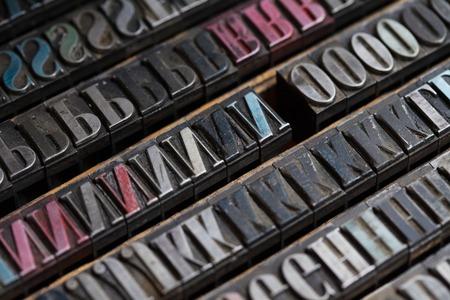 typesetter: Old vintage metal printing press letters