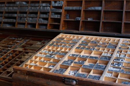 typeset: Old vintage metal printing press letters in a drawer