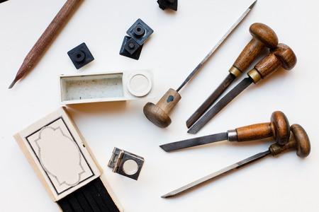 printing block block: Printing press tools, arranged on a white background