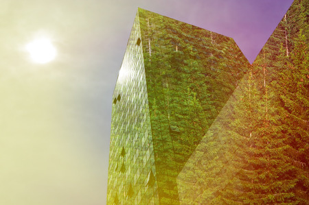 greenhouse effect: Green energy in the city: modern building covered with spruce forest