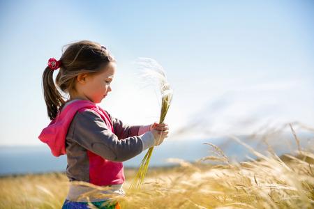Schattig klein meisje het plukken en verzamelen bruine grassen op een weide met de wind waait door haar lange haren en de zee op de achtergrond. Allergie, hooikoorts en overgevoeligheid concept. Stockfoto