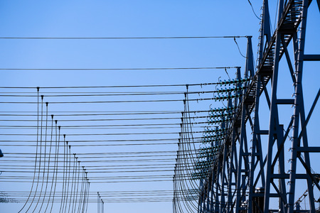 electric grid: Converter station, special type of transformer substation in electric system grid, converting high-voltage direct current (HVDC) into alternating current (AC), a process called rectification. Stock Photo