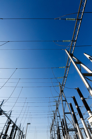 rectification: Converter station, special type of transformer substation in electric system grid, converting high-voltage direct current (HVDC) into alternating current (AC), a process called rectification. Stock Photo