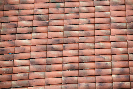 mediterranean home: View of unique, weathered terracotta roof of a Mediterranean house. Textured effect background. Construction, home, protection and travel concept. Stock Photo
