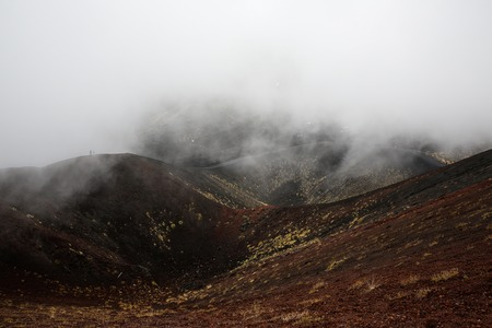 igneous: Scenery and lava fields of Mt. Etna volcano, Sicily, engulfed in thick clouds and fog, with sporadic yellow grasses growing on black volcanic (igneous) rock.