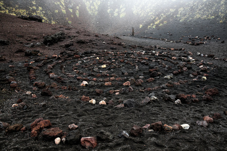 centering: Sacred spiral of igneous rock in Etna volcano crater, symbolizing centering, widening consciousness and growing capacity to benefit from lifes lessons. Spirituality, symbolism and psychic concepts.