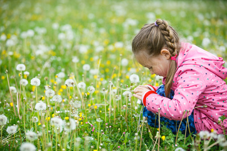 active lifestyle: Little curious girl photographing up close with her camera, exploring nature and kneeling in a dandelion meadow. Active lifestyle, curiosity, pursuing a hobby, technology and kids concept. Stock Photo
