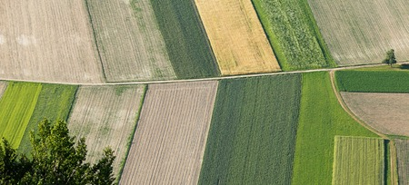 Freshly plowed and sowed farming land from above, neatly cultivated in non-urban agricultural area, textured effect and background. Food production industry, arable land concept.