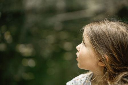 girl scout: Thoughtful little girl watching trees, skies and birds in awe during a forest hike, exploring big nature. Active childhood, healthy and natural lifestyle concept.